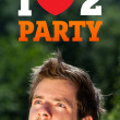 Young head looking at party signs — Stock Photo