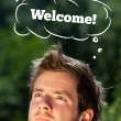 Young head looking at recreational signs — Stock Photo