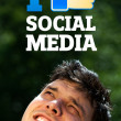 Young head looking at social type of icons and signs — Foto Stock