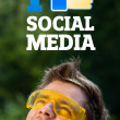 Young head looking at social type of icons and signs — Stock Photo #6856197