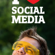 Young head looking at social type of icons and signs — Stock Photo #6856198