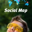 Young head looking at social type of icons and signs — Stock Photo #6856358