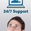 Young head looking at support contact type of icons and signs — Stock Photo