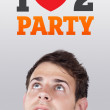 Young head looking at party signs — Stock Photo #6856445