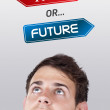 Young head looking at positive negative signs — Stock Photo #6856527