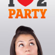 Young girl looking at party signs — Stock Photo