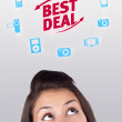 Young head looking at shipping and order signs — Stock Photo #6857044