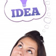 Young girl looking at idea type of sign — Stock Photo #6857451