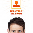 Young head looking at labor type of icons — Stock Photo