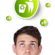 Young head looking at green eco sign — Stock Photo #6857845