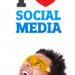 Royalty-Free Stock Photo: Young head looking at social type of icons and signs