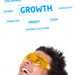 Young persons head looking at business icons and images — Stok fotoğraf
