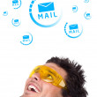 Young head looking at support contact type of icons and signs — Stock Photo #6858524