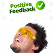 Young head looking at positive negative signs — Stock Photo