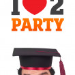 Young head looking at party signs — Stock Photo #6858635