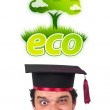 Young head looking at green eco sign — ストック写真