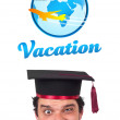 Young head looking at vacation type of sign — Stock Photo #6859035
