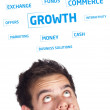 Stock Photo: Young persons head looking at business icons and images