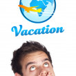 Young head looking at vacation type of sign — Stock Photo #6859549