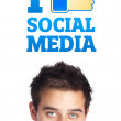 Young head looking at social type of icons and signs — Stock Photo #6859656