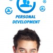 Young head looking at labor type of icons — Stock Photo #6859685