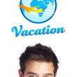 Young head looking at vacation type of sign — Stock Photo #6859803