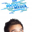 Young head looking at social type of icons and signs — Stock Photo #6859874