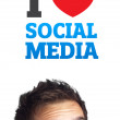 Young head looking at social type of icons and signs — Stock Photo #6859887
