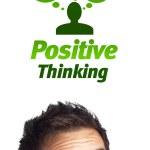 joven cabeza mirando señales negativas positivas — Foto de Stock