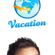 Foto Stock: Young head looking at vacation type of sign