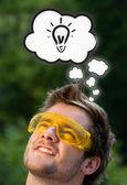 Jonge hoofd denken met wolken — Stockfoto