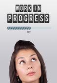 Jeune fille regardant type idée d'affiche — Photo