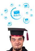 Unga huvud tittar på support kontakta typ av ikoner och skyltar — Stockfoto