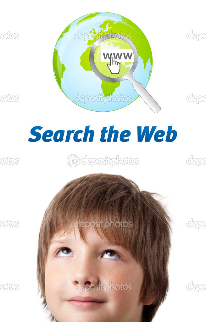 Young persons head looking with gesture at internet type of icons — Stock Photo #6852778