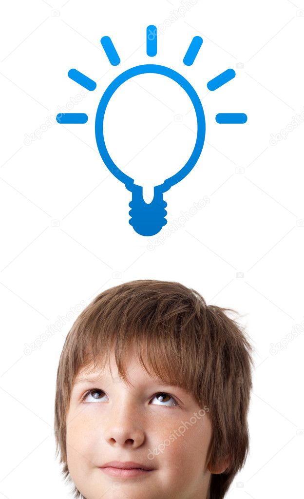 Young persons head looking with gesture at idea type of sign — Stock Photo #6852795
