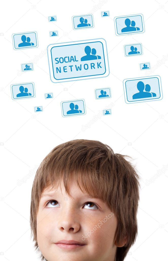 Young persons head looking with gesture at social type of icons and signs — Stock Photo #6852841