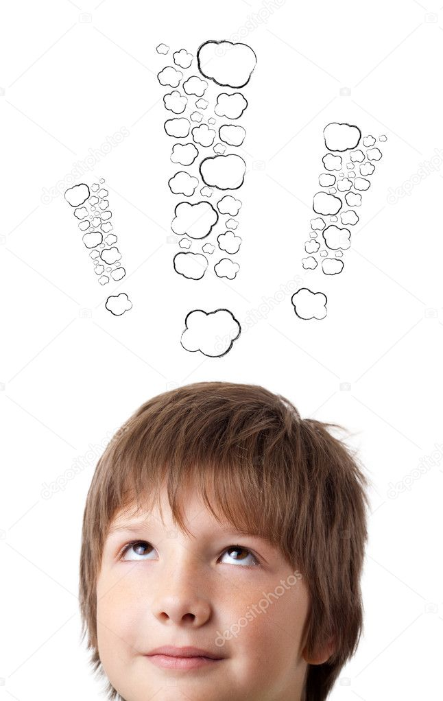 Young persons head looking with gesture at writing marks  Stock Photo #6852859