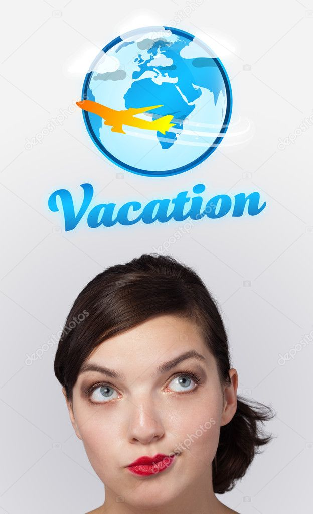 Young girl head looking with gesture at vacation type of sign — Stock Photo #6853233