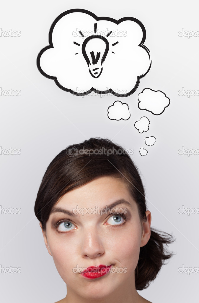 Young girl head thinking about white clouds — Stock Photo #6853282