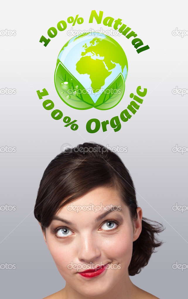 Young girl head looking at green eco sign — Stok fotoğraf #6853348