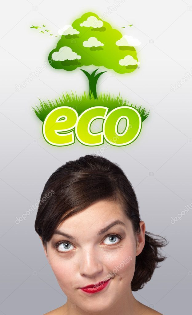 Young girl head looking at green eco sign — Stock Photo #6853373