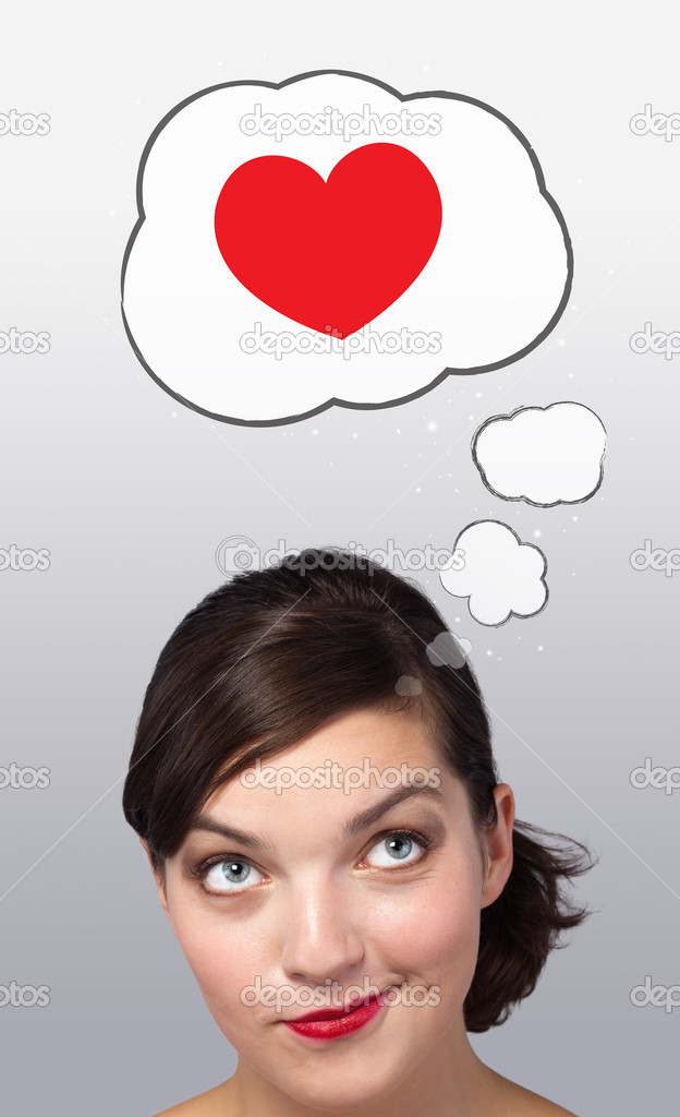 Young girl head looking with gesture at love signs — Stock Photo #6853382