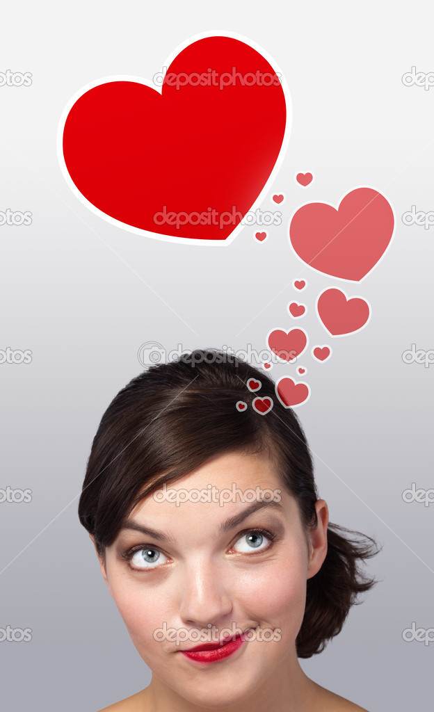 Young girl head looking with gesture at love signs — Stock Photo #6853397