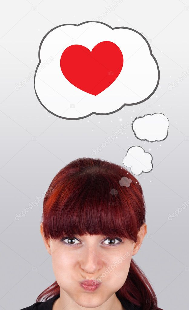Young girl head looking with gesture at love signs — Stock Photo #6854002