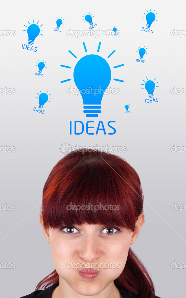 Young girl head looking with gesture at idea type of sign — Stock Photo #6854017