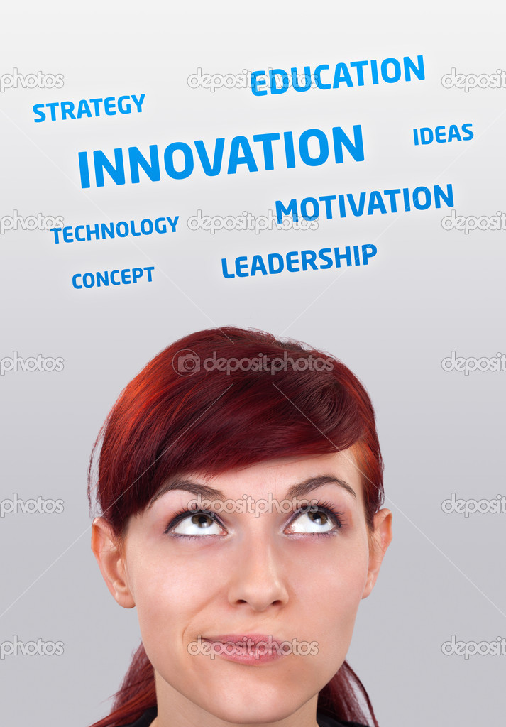 Young girl head looking at business icons and images — Stock Photo #6854116