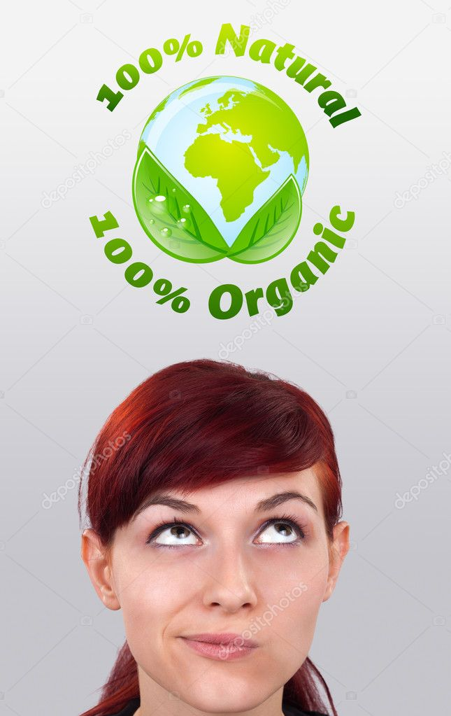 Young girl head looking at green eco sign — Stock Photo #6854136