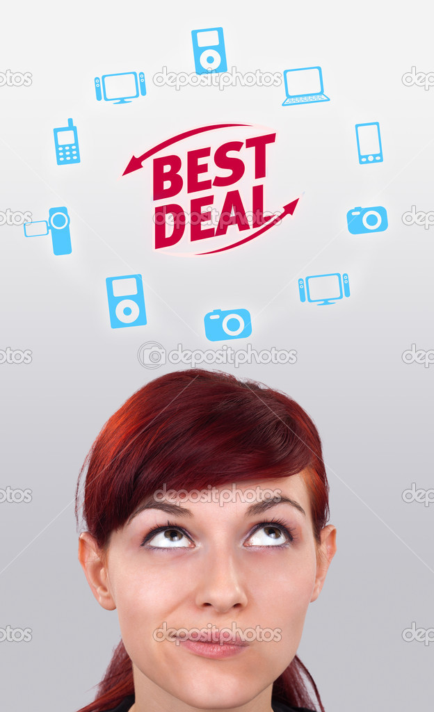 Young persons head looking with gesture at shipping and order signs — Stock Photo #6854143