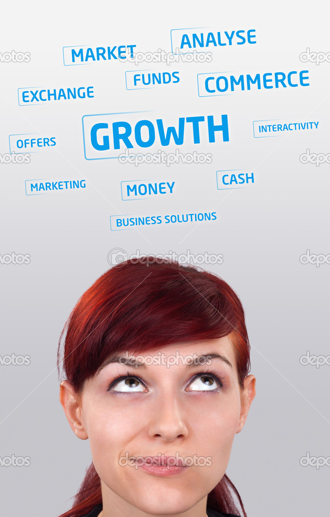 Young girl head looking at business icons and images  Stock Photo #6854148