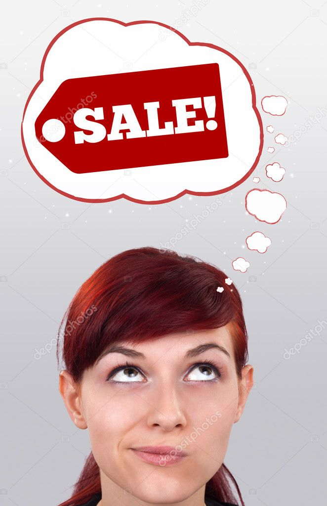 Young persons head looking with gesture at shipping and order signs  Stock Photo #6854169